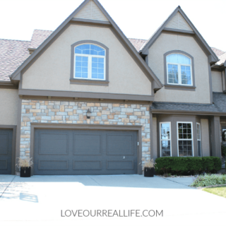 faded garage doors, painting garage doors, Urbane Bronze garage doors, dark garage doors