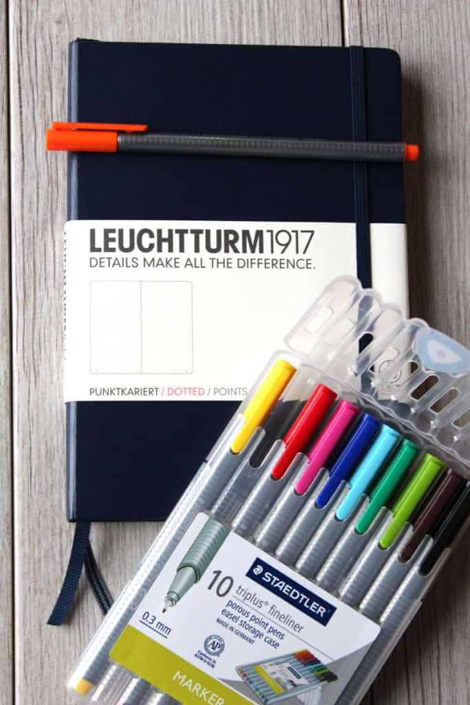 Navy blue Leuchtturm 1917 with Staedler colored markers on wooden flooring / background.
