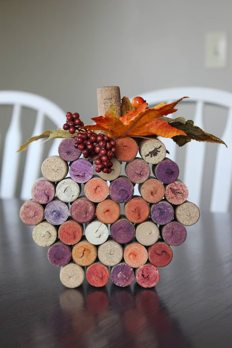 Wine Dork Pumpkins, a DIY fall craft with wine corks