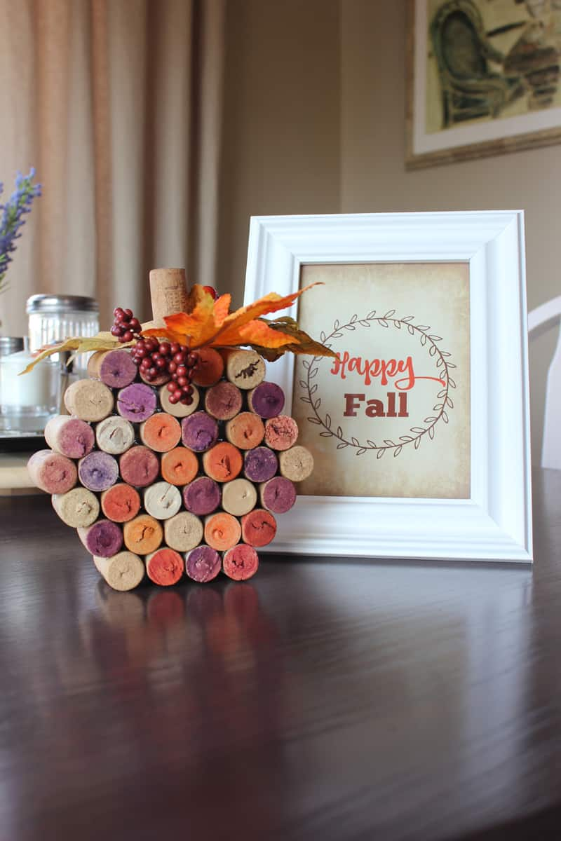 Wine cork pumpkin, fall printable, happy fall printable, fall printable in frame, fall decor DIY