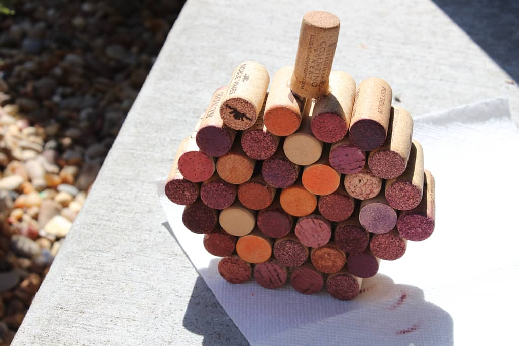 Wine cork pumpkin, fall craft, Halloween pumpkin craft with wine corks,