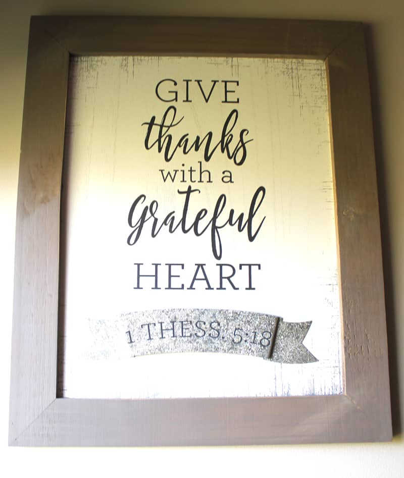 "wood sign: ""give thanks with a grateful heart 1 Thess. 5:18"""