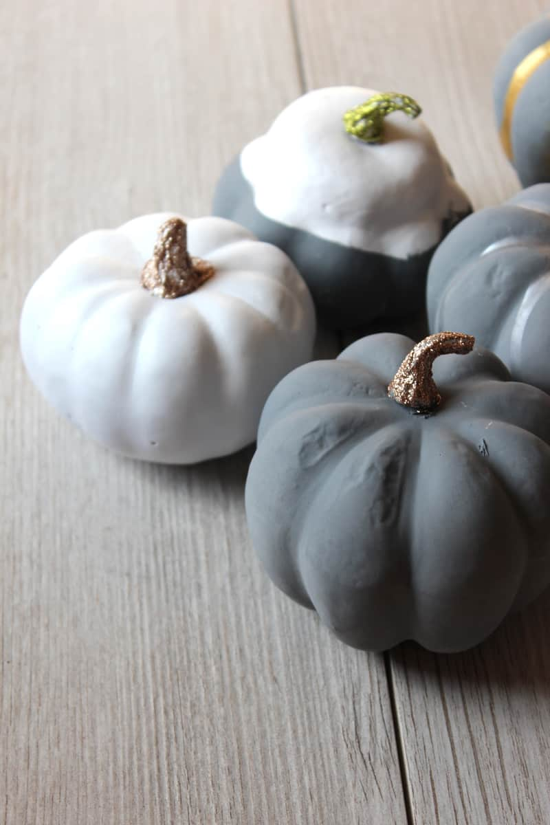 Pumpkin painting ideas: gray, white, silver, and gold pumpkins.