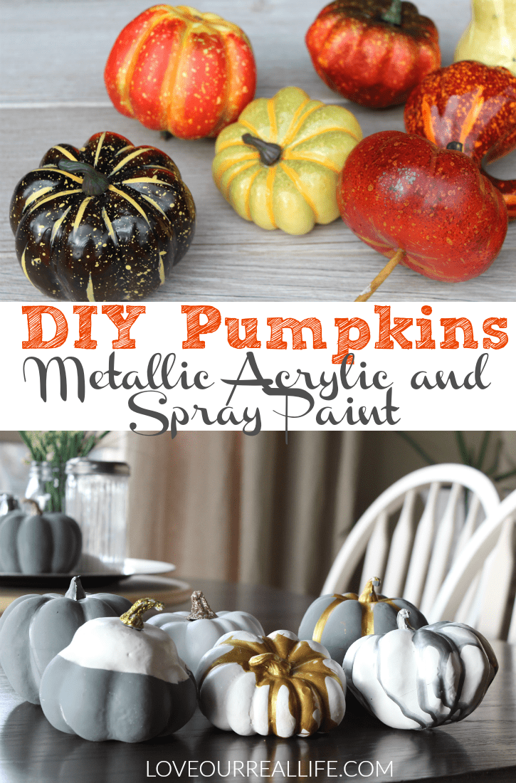 Pumpkin painting ideas: DIY Pumpkins with Metallic acrylic paint and spray paint