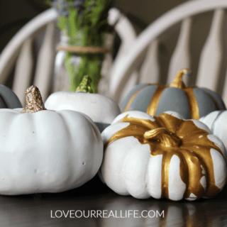 DIY Pumpkins with metallic acrylic paint and spray paint, painting pumpkins, fall crafts