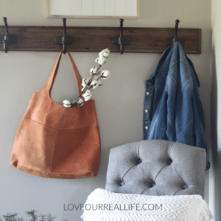 Rustic farmhouse entry, farmhouse entry in the suburbs, rustic coat rack, cotton stems, Magnolia Market purse