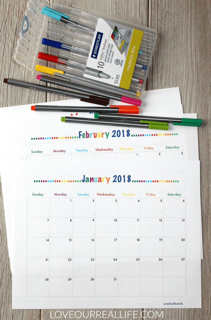 Monthly calendars for 2018