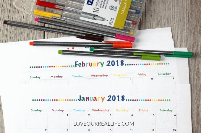 2018 FREE printable monthly calendars, 2018 calendars