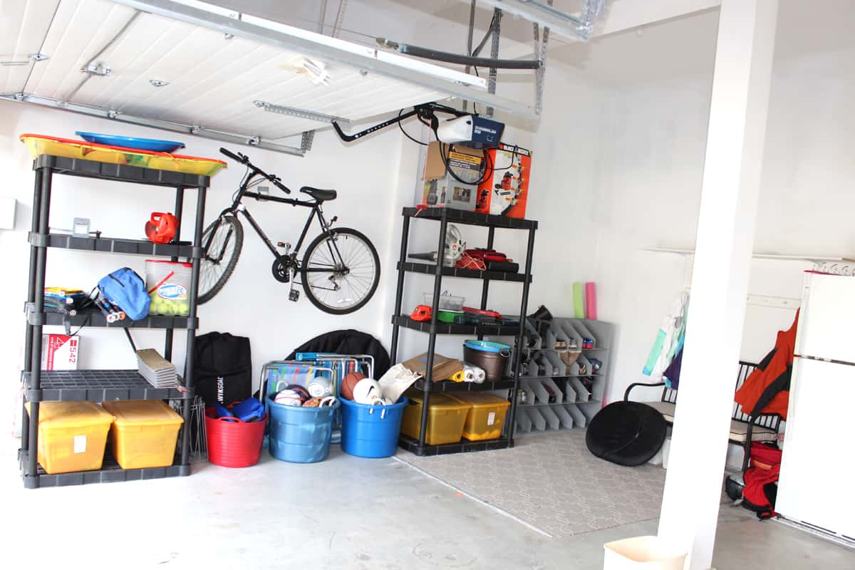 Organized shelving and bins in garage
