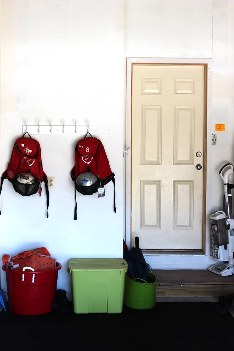 Adding hooks in garage to get things off the ground, garage entry