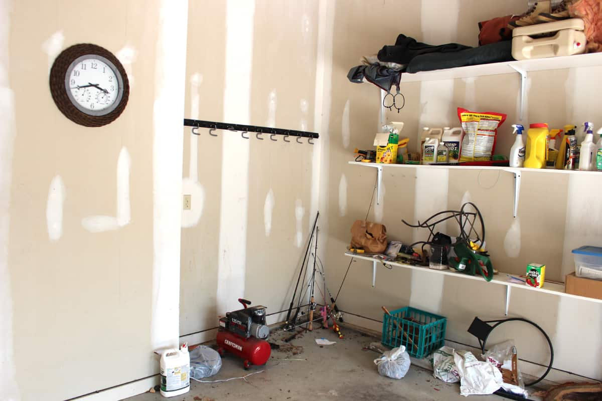 Garage organization project before image