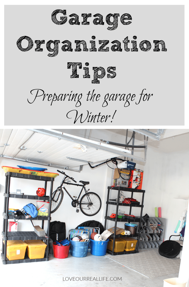 Garage organization tip; preparing a garage for winter.