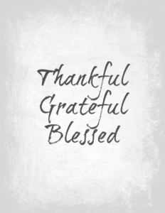 Thankful grateful blessed printable on gray and white marble background.