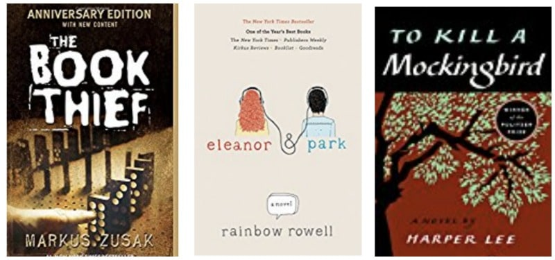 Books for young adults: The Book Thief, Eleanor and Park, To Kill a Mockingbird