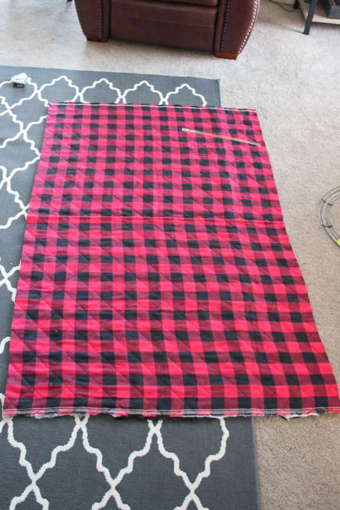 Red and black buffalo check fabric
