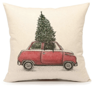 Old red truck pillow, Inexpensive pillows on Amazon
