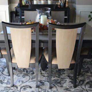 Dining table transformation using chalk paint and clear and dark wax