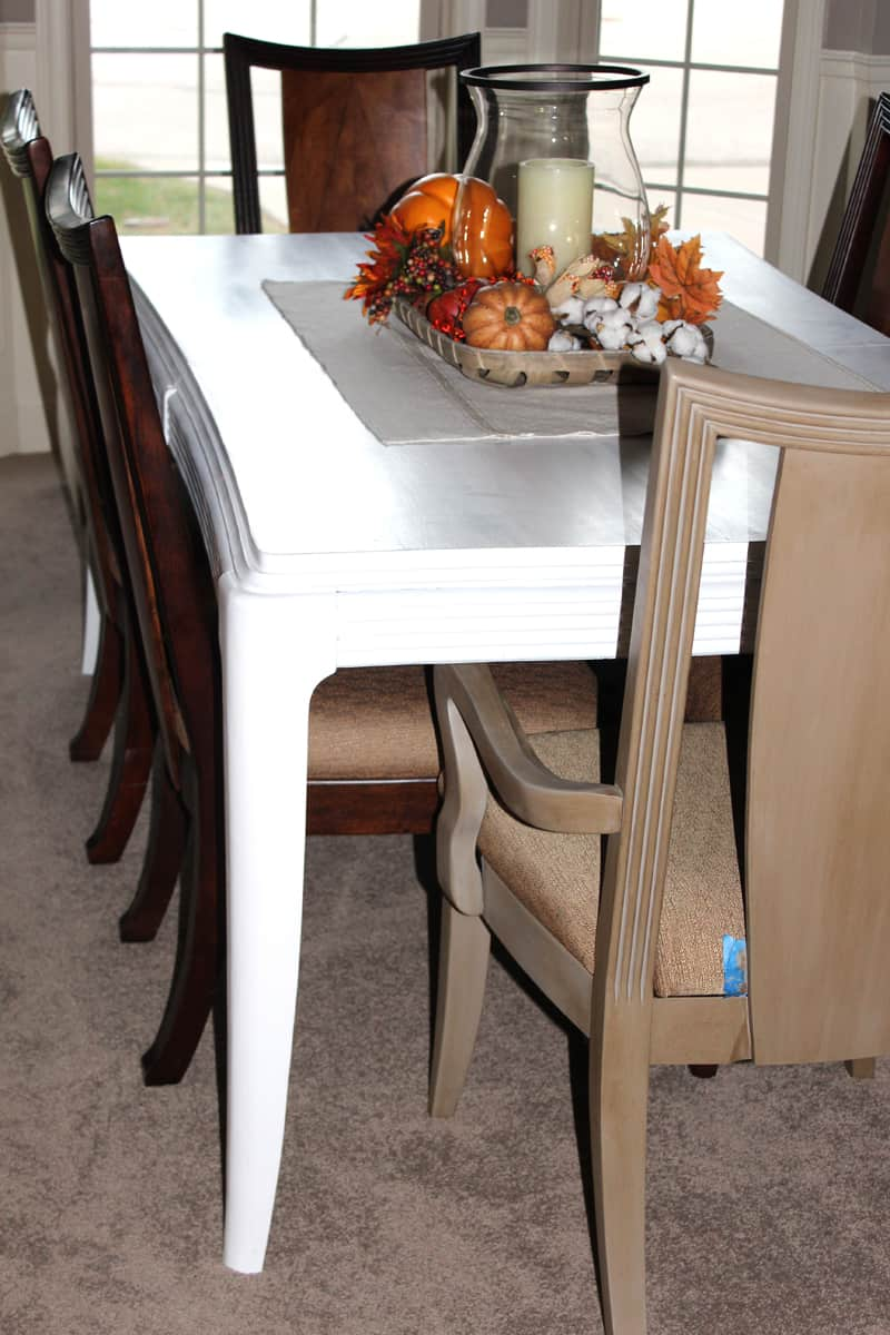 White chalk paint on dining table