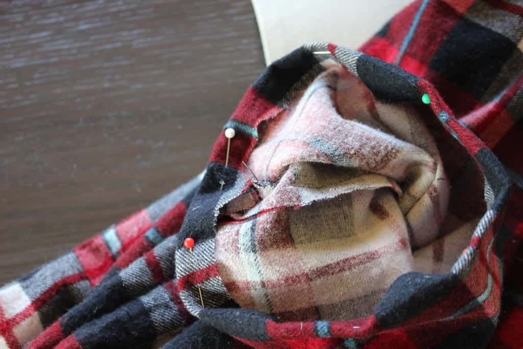 Flannel scarf with pins