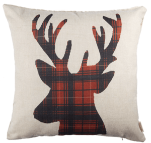 Winter deer pillow, Buffalo check pillow, red and black buffalo plaid