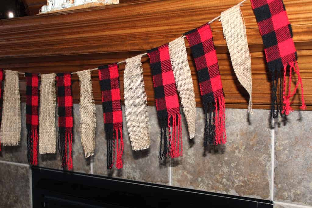 Banner with burlap and buffalo check with tutorial