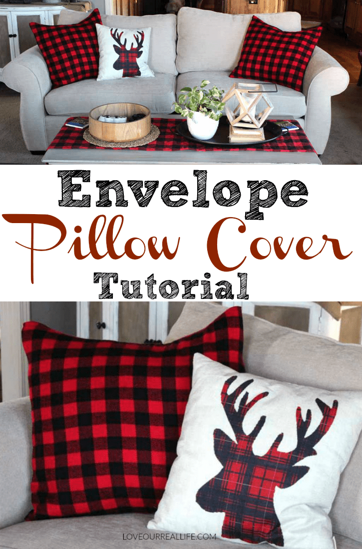 Envelope pillow cover tutorial using buffalo check fleece blanket!