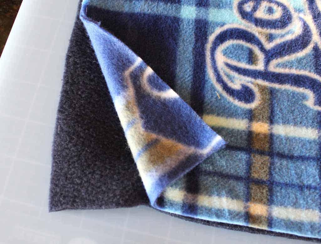 Fleece blanket pretty side of material facing out; no sew fleece blanket tutorial
