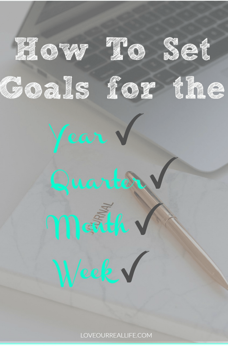 Worksheets to set your goals for the year, quarter, month and week!