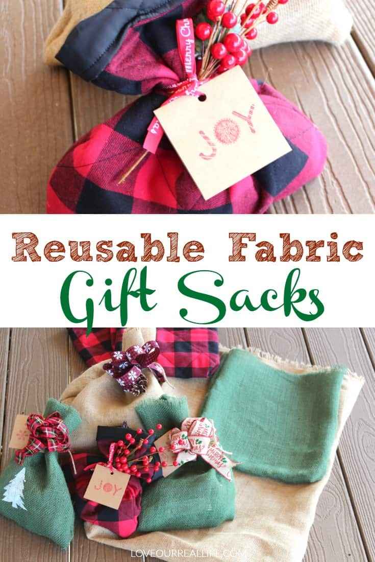 Reusable fabric gift sacks.
