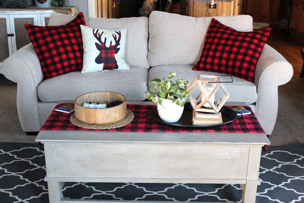 buffalo plaid pillows on couch