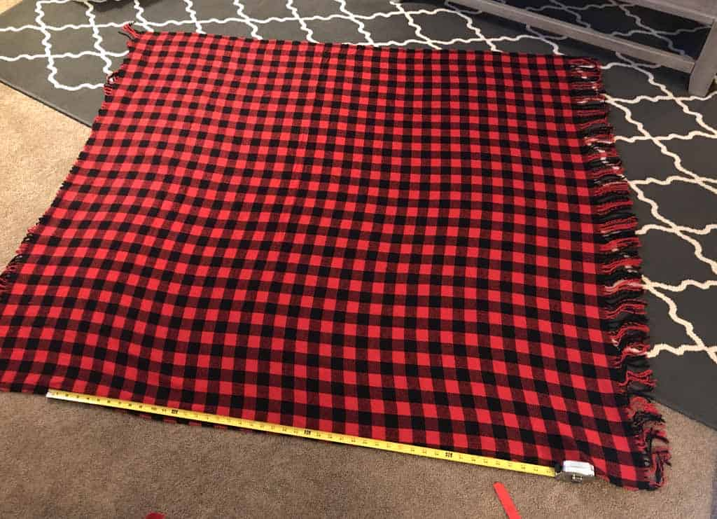 Buffalo check fleece blanket; A tutorial for making an envelope pillow cover