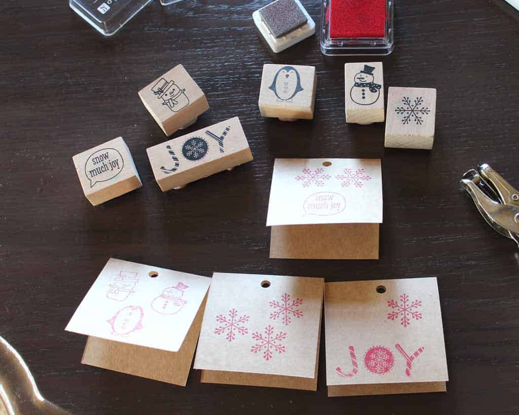 Making gift tags with ink stamps and natural cards