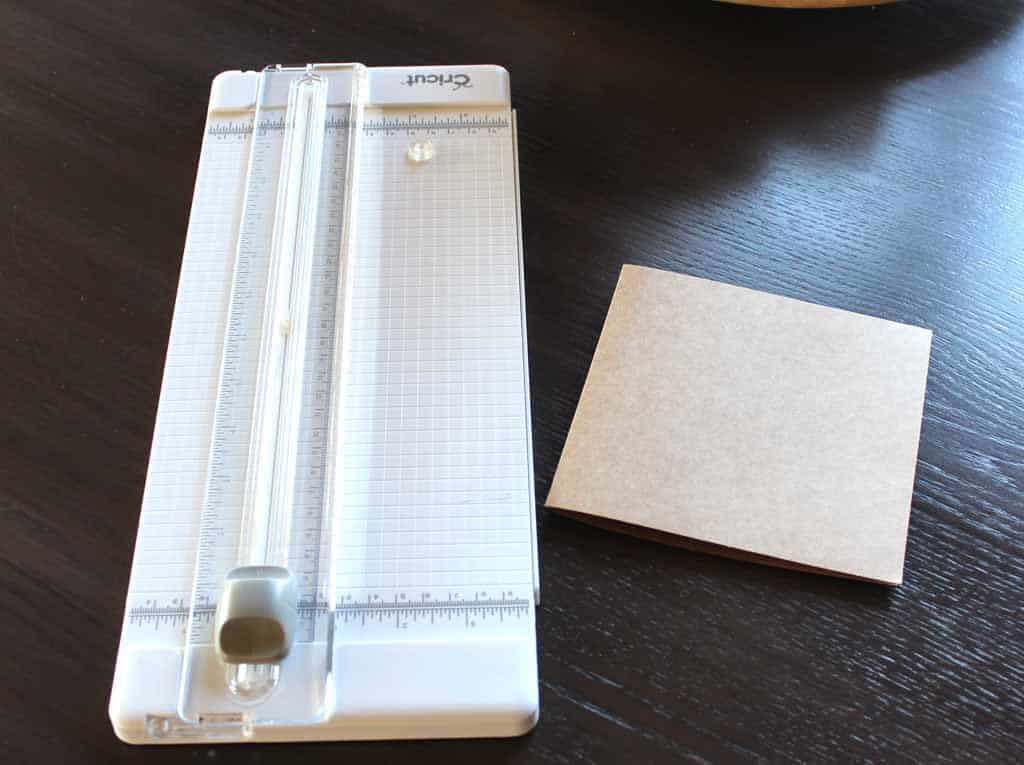 Making gift tags from natural cards in size 5 x 7 using paper trimmer