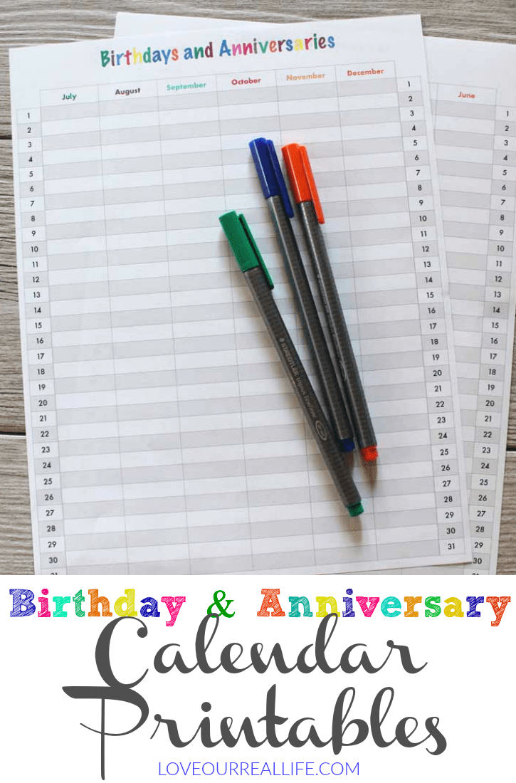 Birthday and Anniversary calendar printable PLUS my favorite Bullet Journal Supplies!