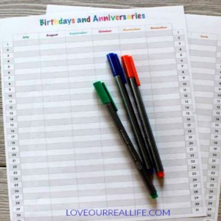 Birthday and Anniversary Calendar Printable!