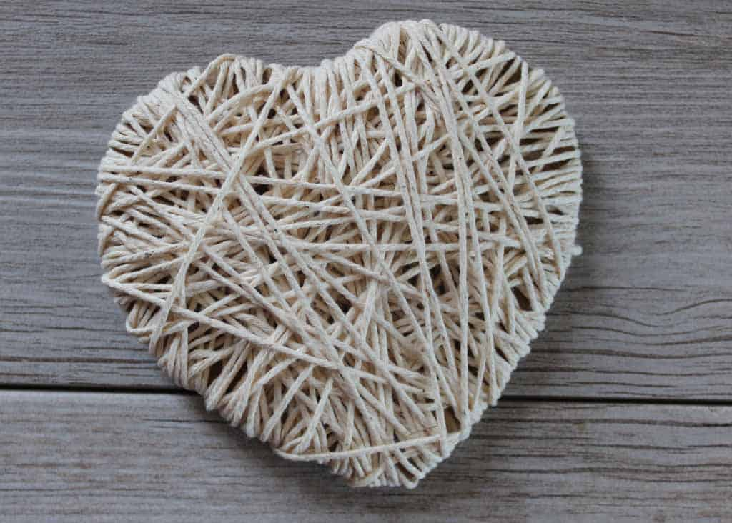 String Heart for Valentine's Banner in off white yarn