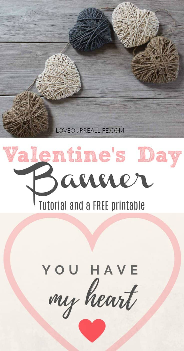 DIY Valentine's Day string heart banner on white wash wood and pretty Valentine's Printable