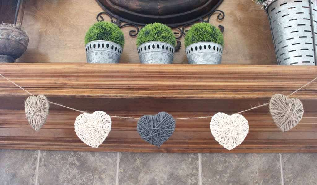 Valentine's Day String heart banner hanging from mantle
