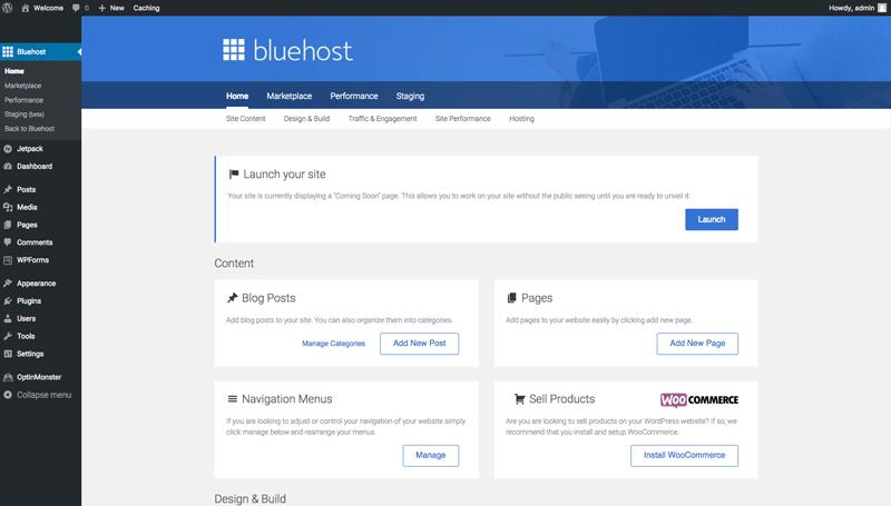 Bluehost set up