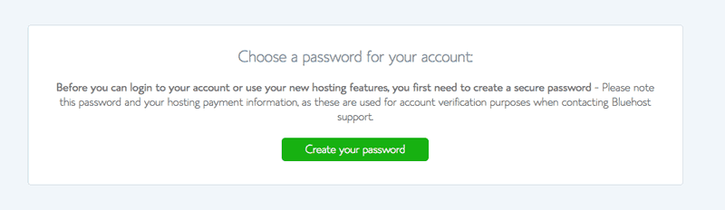 Select a password for Bluehost