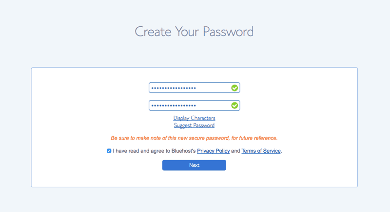 Password Step 2 for Bluehost