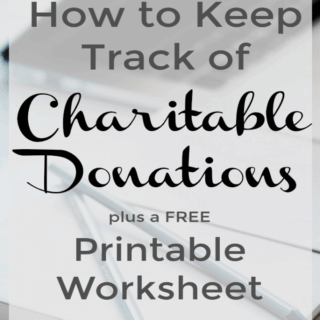 Worksheet to track all charitable donations to make doing taxes easier.