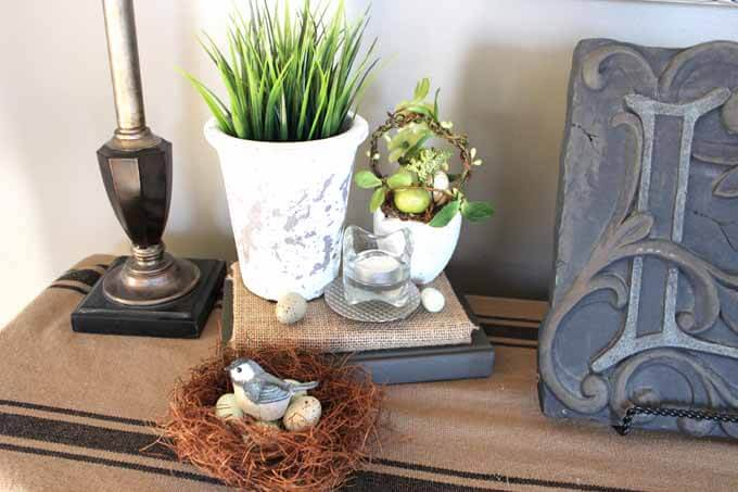Add faux birds nests for Spring Home decor