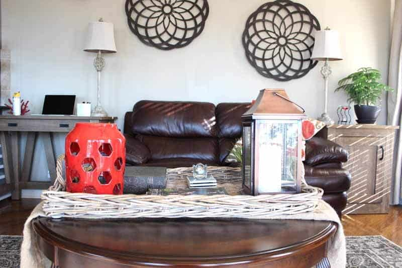 Using baskets on tables for home decor.