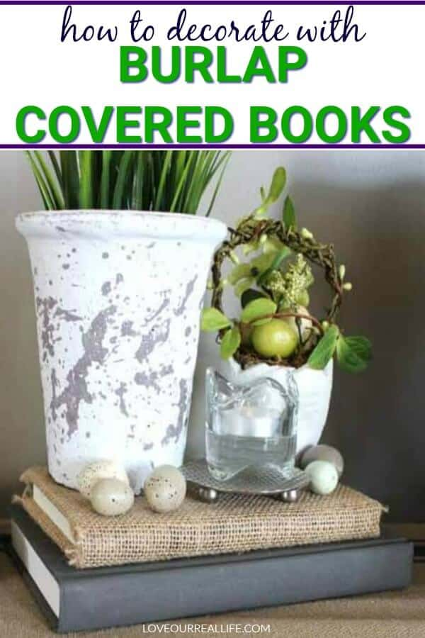 how to decorate with burlap covered books