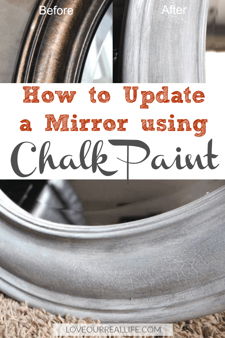 Step by step directions on how to update a mirror using chalk paint with layers of gray and white.