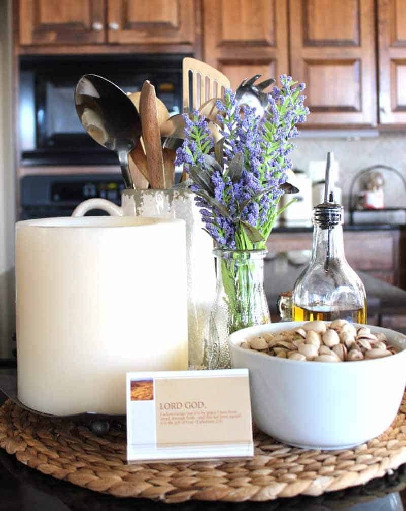 Grouping items together for a kitchen vignette