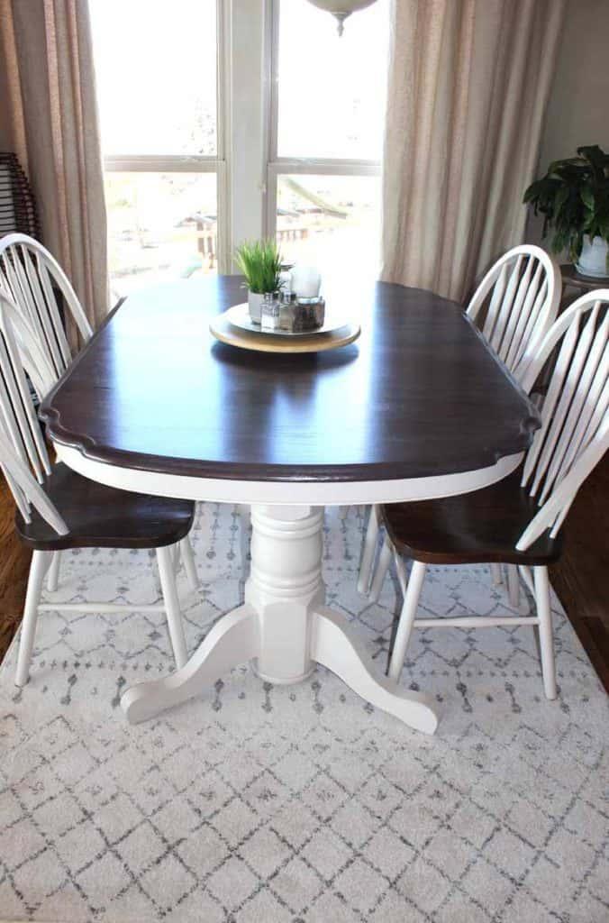 Olga Gray Area rug under kitchen table