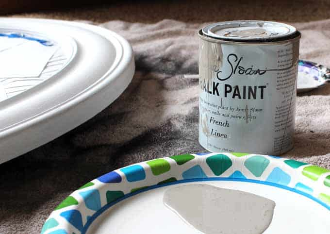 Annie Sloan French Linen chalk paint to make over an old gold mirror.