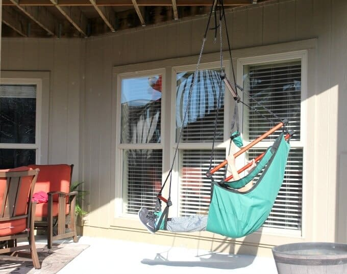 Best Choice Hammock Chair hanging from deck